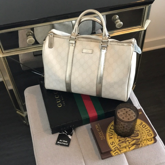 5e386e05d45 Gucci Handbags - Gucci Joy Medium Boston Bag White + Metallic